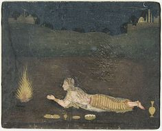Persian Girl at Prayer by Moonlight, c. 1650-1660, attributed to Hunhar. Alternate title: A Hindu Girl at Prayer (doing puja before a fire) Mughal