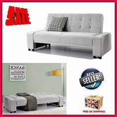 Grey Modern Sofa Bed Comfortable Guest Home Furniture Unique Fabric Couch 3 Seat
