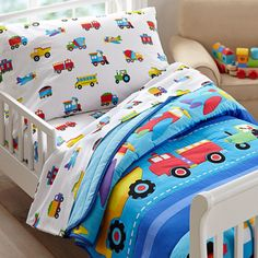 Olive Kids Trains Planes Trucks Toddler Comforter