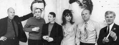 Pictured from right: Andy Warhol, James Rosenquist, British fashion model Jean Shrimpton, Roy Lichtenstein, Tom Wesselmann, Claes Oldenburg. Photo: Ken Heyman