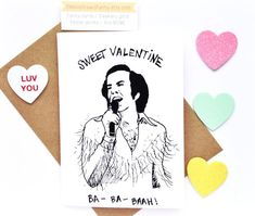 Neil Diamond Sweet Valentine card | Debbie Draws Funny