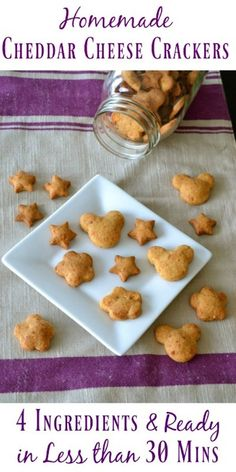Make Your Own 4 Ingredient Cheddar Cheese Crackers. 4 simple ingredients, about 30 minutes, and you get to enjoy the most delicious homemade crackers. Do you find yourself wondering what to give yo… Quick Healthy Snacks, Easy Snacks, Kid Snacks, Healthy Kids, Healthy Eating, Toddler Snacks, Vegetarian Snacks, Healthy Appetizers, Healthy Treats