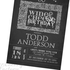 Wine and Cheese Birthday Retirement Party Invitation - Chalkboard Adult Typography Invite - New Year Wine and Cheese Invitation - No.360. $18.00, via Etsy.