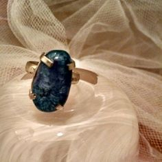 Deep Blue Agate Stone Natural Ring Brand new!!! Real deep Blue agate stone set in silver alloy.  Size 7. Jewelry Rings