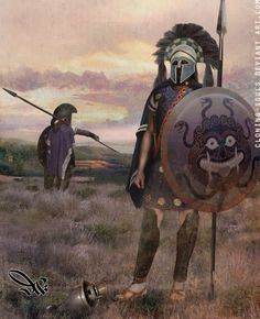 A pretty nice image of two Spartan hoplites, wearing the armor of the classic...