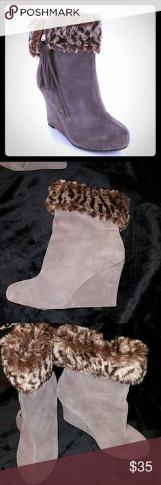 Faux Fur  Suede leather wedge bootie with Tassel Worn twice like new condition kept in box. Shoes Ankle Boots & Booties