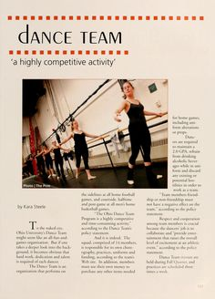 "Athena yearbook, 2005 ""dance team 'a highly competitive activity"" :: Ohio University Archives"