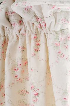 Mathilde ~ Rose & Thyme on Chunky Cream Linen - Peony & Sage Cottage Curtains, Farmhouse Curtains, Shabby Chic Farmhouse, Shabby Chic Bedrooms, Shabby Chic Decor, Cottage Bedrooms, English Cottage Style, English Cottage Decorating, Cozy Cottage