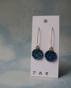 Bold Blue Druzy Drop Earrings