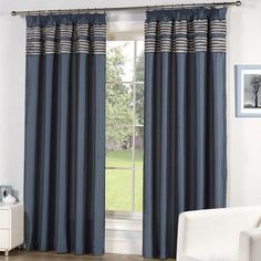 Buy Cut Fringe Blue Lined Tape Curtains - Matching Cushions Available | Curtains | The Range