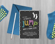 Jump Printable Invitation, Trampoline Party, Bounce Party, Flip Out Party Invitation - Edit & print as many copies as you like! by MontyandMeShop on Etsy