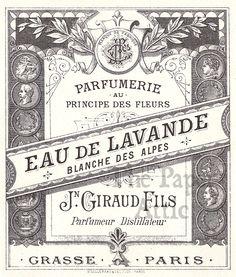vintage perfume label images | Antique Vintage French Paris Perfume Label Eau de Lavander by Jn ...