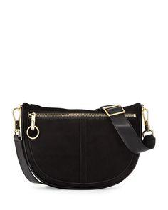 ELIZABETH AND JAMES Scott Small Moon Suede Saddle Bag, Black. #elizabethandjames #bags #shoulder bags #lining #suede #