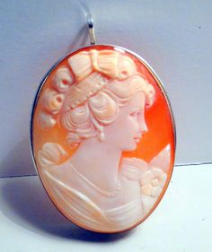 Big Cameo Hand Carved Brooch Pendant High by flashbackintime, $78.00