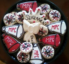 Megaphones, pompons, cheerleading - Decorated Sugar Cookies by I Am The Cookie Lady