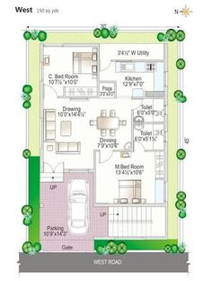 20x30 house plans west facing bedroom