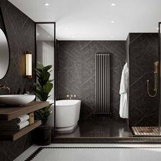 Bathroom Wet Wall, Bathroom Wall Panels, Basement Bathroom, Bathroom Ideas, Home Room Design, Dream Home Design, Modern Bathroom Design, Bathroom Interior Design, Dark Bathrooms