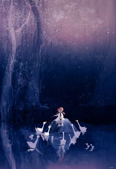My favorite type of evening!  #pascalcampionart  Just me , the swans and the rest of the world