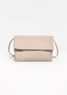 & Other Stories image 1 of Fold-Over Leather Crossbody in Light Beige