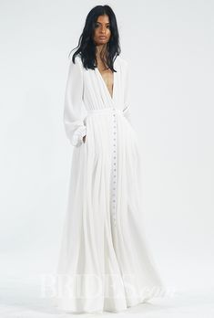 Vestido en línea vaporoso con escote en V de Houghton