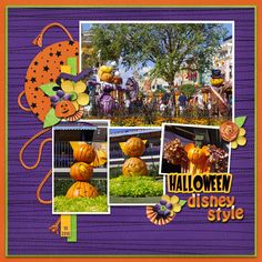 Disney Halloween page layout by Julie using Boo to You Digital Kit by Capturing Magical Memories #DisneyScrapbooking #DisneyMemories