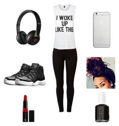 """I woke up like this❤❤❤"" by ballislife ❤ liked on Polyvore featuring NIKE, Dorothy Perkins, Private Party, Beats by Dr. Dre, Native Union, GHETTO FAB, e.l.f. and Essie"