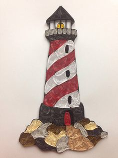Quilling quilled framed art lighthouse nautical art 8x10
