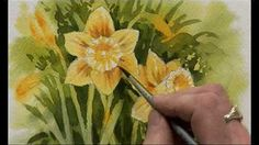 How to paint a Daffodil with watercolor, a step by step tutorial - YouTube