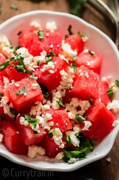 Salty, sweet and refreshing watermelon feta salad is what you should be serving for every backyard BBQ party or picnic.It's healthy and easy to make. Watermelon Feta Salad Recipes, Vegetable Salad Recipes, Watermelon And Feta, Fruit Salads, Make Ahead Salads, Easy Salads, Summer Salads, Foil Potatoes On Grill, Frozen Yogurt Blueberries