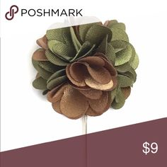 "New Men's Green & Brown Satin Flower Lapel Pin. New Men's Golden Brown and Sage Green Satin Flower Lapel Pin. Length: 3"" ; Diameter: 1.75"" The Modern Gallant Accessories"