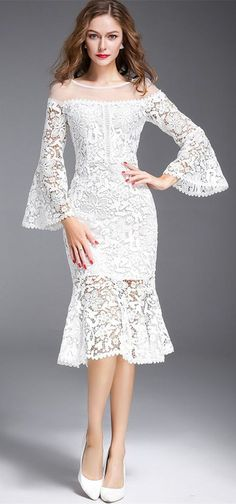 Nine Points Sleeve Mermaid Off White Women's Lace Dress brokat Dresses For Teens, Trendy Dresses, Nice Dresses, Short Dresses, Fashion Dresses, Formal Dresses, Dress Brukat, Dress Lace, Kebaya Dress