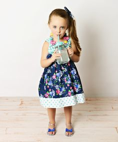 Look at this Blue & White Chevron & Floral Dress & Headband - Toddler & Girls on #zulily today!