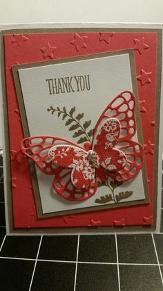 handmade card from Stamp with Roberta .. butterfly thank you .... Stampin' Up!