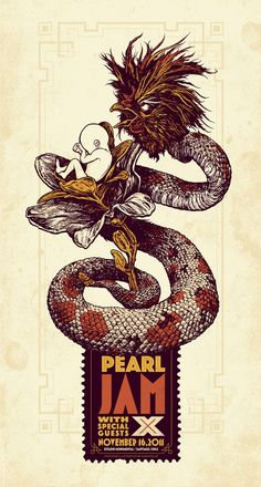 2011 Pearl Jam - Santiago Silkscreen Concert Poster by Angryblue Rock Posters, Band Posters, Festival Posters, Concert Posters, Gig Poster, Pearl Jam Posters, Vintage Music Posters, Retro Posters, Illustration Photo