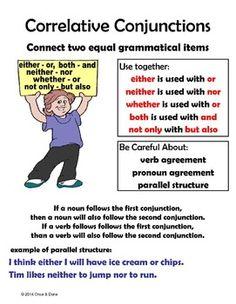 CORRELATED CONJUNCTIONS CENTER, EITHER OR, NEITHER NOR, CCS L.5.1.E - TeachersPayTeachers.com