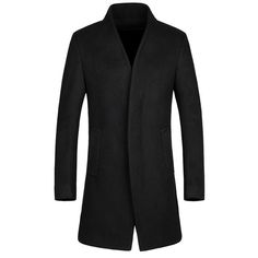 61.65$  Buy now - http://diiyp.justgood.pw/go.php?t=154919107 - Laconic Stand Collar Multi-Button French Front Back Slit Long Sleeves Fitted Men's Woolen Blend Coat 61.65$