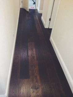 Hand Scraped French White Oak. Café Stained. Done by Todd's Hardwood Flooring.