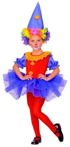 Disfraz de payaso para niña: Este disfraz de payaso con tutú para niña se compone de un vestido y un sombrero. El vestido tiene un tutú hecho de tul azulado con un ribete amarillo. También lleva un...