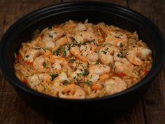 Orzo cu creveti Orzo, Risotto, Shrimp, Seafood, Cooking Recipes, Meat, Ethnic Recipes, Greece, Sea Food