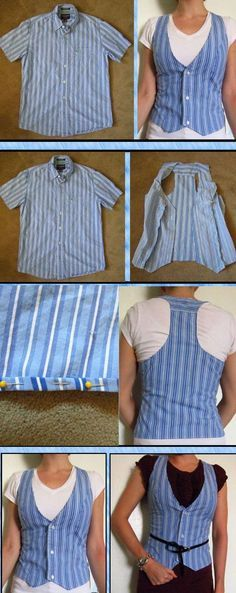 Up Shirt Refashion: A RoundUp! Mens shirt to women's vest.Mens shirt to women's vest. Sweater Refashion, Clothes Refashion, Diy Clothing, Sewing Clothes, Sewing Men, Free Sewing, Sewing Hacks, Sewing Projects, Diy Projects
