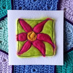Your place to buy and sell all things handmade Friendship Cards, Get Well Soon, Green Backgrounds, Flower Cards, Anniversary Cards, White Envelopes, Needle Felting, Flower Designs, Thank You Cards