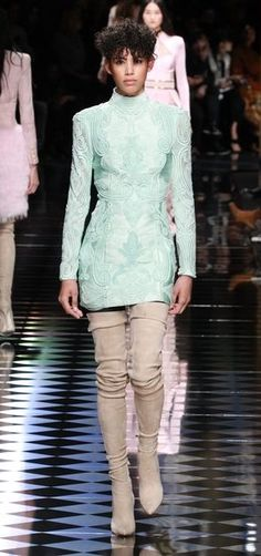 Dilone Modeling a Mint Dress With Beading at the Balmain Fall 2016 Show // See All of the Best Looks From Balmain's Fall 2016 Collection: (http://www.racked.com/2016/3/3/11153430/balmain-fall-2016-kendall-jenner-gigi-hadid-kanye-west)