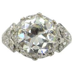 Art Deco 3.71 carat Diamond Platinum Engagement Ring   See more rare vintage Engagement Rings at https://www.1stdibs.com/jewelry/rings/engagement-rings