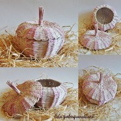 Wicker garlic, made from paper, reuse old newspaper, home decoration, paper wicker