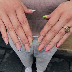 Cute nails, Nail art designs and Pretty nails. Minimalist Nails, Cute Acrylic Nails, Neon Nails, Neon Nail Art, Hair And Nails, My Nails, Nails Inc, Short Gel Nails, Long Oval Nails