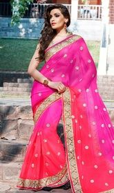 Pink and Red Color Embroidered Georgette Sari #sareesinonlinepurchase #sareessale Get a sensational look dressed in this pink and red color embroidered georgette sari. The ethnic lace, patch and resham work to your saree adds a sign of splendor statement with your look. Upon request we can make round front/back neck and short 6 inches sleeves regular saree blouse also. USD $ 128 (Around £ 88 & Euro 97)