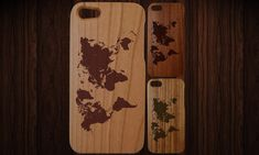 Wood iPhone 5 case. Fits 5 and 5S. World map by NotAScratch, $29.99