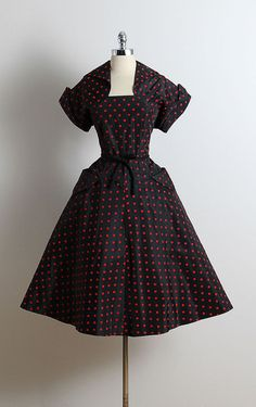 Vintage 1950s Party Dress ♦ Black acetate, with red, flocked polka dots by millstreetvintage