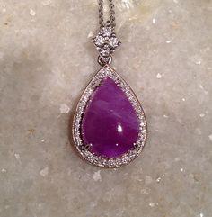 Sugilite and Diamond Pendant