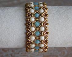 Beaded Bracelet Tutorial, Bracelet Pattern, Instructions, Superduo, Beadweaving, Swarvoski bicone, 6mm pearl, Jewelry, Digital Download, PDF